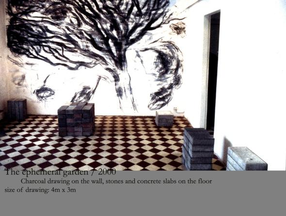 2000. The Ephemeral Garden / Installation med kålteckning och betångplattor. Galleri Studio Mezzo Helsingfors