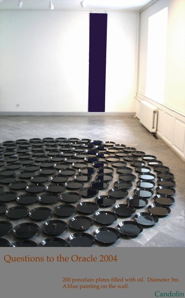 Questions.to the Oracle.Installaltion with porcelain plates and oil &  2 canvases on the wall . Diameter 3m. Tartu Art Museum, Estonia