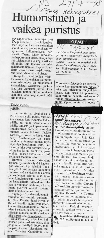 1998.Puristus Hesari-NYTliite.1998 Hesari - NYT-liite