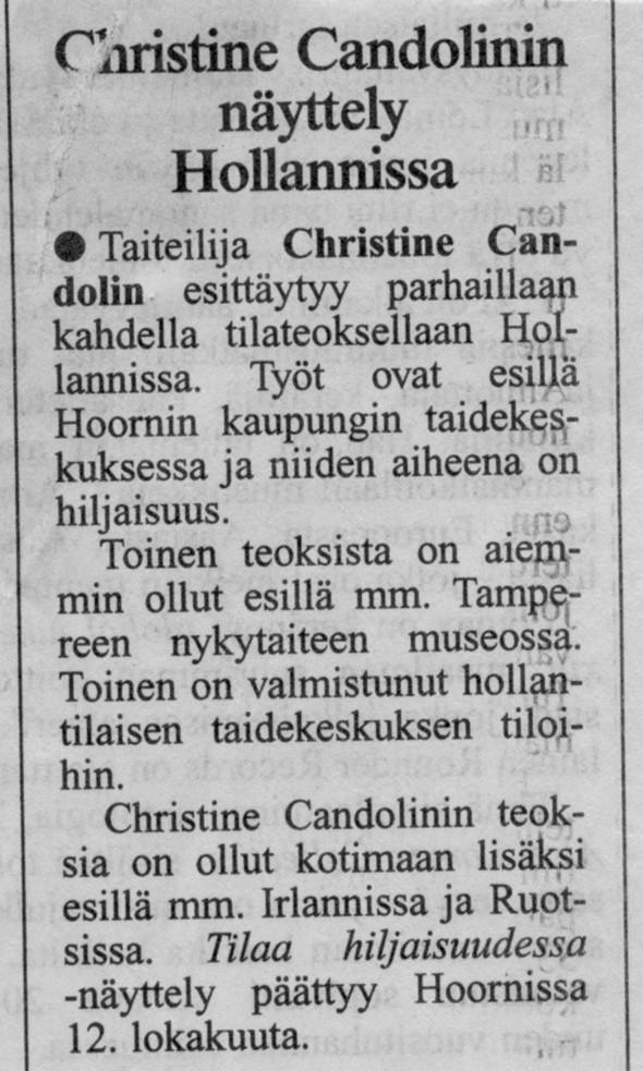 1997 ilmoitusHesari Hoornin näyttelystä
